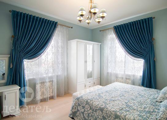 Фото шторы для спальни загородного дома 2016