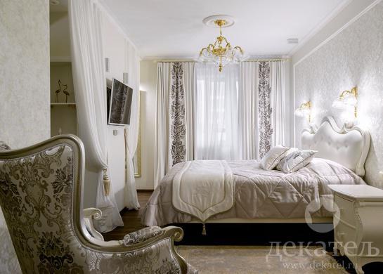 Фото текстильное оформление спальни в неоклассическом стиле 2016